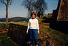 MaryAnne at a wall of Citadelle de Bitche - (April 11, 1988 / Bitche, Moselle department, Lorraine, France) -- MaryAnne