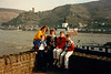Cristen, Andrew, MaryAnne, Michael & Jonathon in front of Zollburg Pfalzgrafenstein [toll castle] - (April 16, 1988 / Kaub, Loreley, Rheinland-Pfalz, West Germany) -- Cristen, Andrew, MaryAnne, Michael & Jonathon