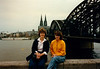 MaryAnne & Cristen in front of the Kölner Dom [Cologne Cathedral] and the Hohenzollernbrücke [Rhine River Bridge] - (April 16, 1988 / Köln, North Rhine-Westphalia, West Germany) -- MaryAnne & Cristen