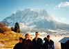 Andrew, MaryAnne, Michael & Jonathon in Austria in front of the Zugspitze (November 23, 1990 / Zugspitze, Tyrol, Reutte District, Austria) -- Andrew, MaryAnne, Michael & Jonathon