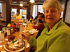"""June 8, 2014 - (""""The Little Diner"""" / Vail [Lionshead], Eagle County, Colorado) -- MaryAnne with plate of Dutch Babies for Breakfast"""