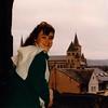 Cristen in window of Porta Nigra - (December 19, 1988 / Trier, Rheinland-Pfalz, West Germany) -- Cristen