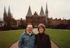 """David & MaryAnne in Lübeck with Holstein Gate """"Holstentor"""" (February 13, 1990 / Lübeck, Schleswig-Holstein, West Germany) -- David & MaryAnne"""