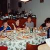 MaryAnne, Andrew, Jonathon, Michael, Edwin and Cristen eating pizza - (December 28, 1986 / Manassas Circle; Williamsburg, Orange County, Florida) -- MaryAnne, Andrew, Jonathon, Michael, Edwin and Cristen